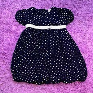 Navy Blue Polkadot Baby Girl Button Down Dress